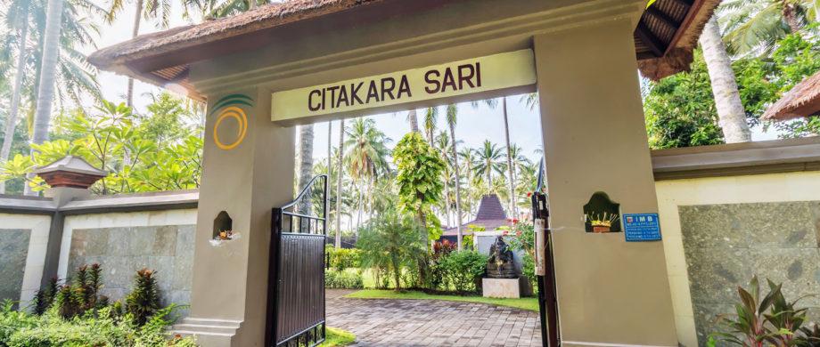 gated entrance to vacation getaway Citakara Sari Estate in Bali