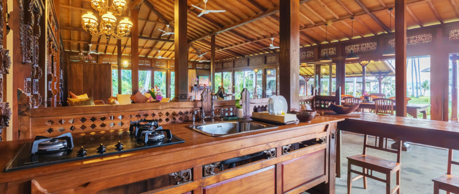 Ornate wooden architectural details featured in Villa Saraswati at Citakara Sari Estate in Bali