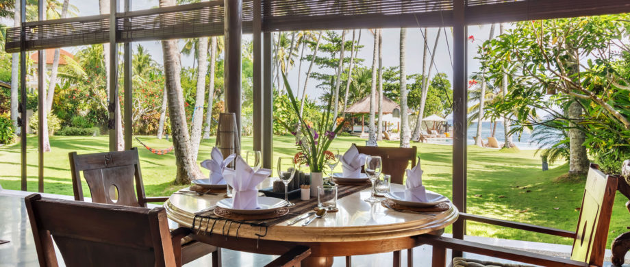 Ocean view from the dining area in Villa Yoga Bale at Citakara Sari Estate