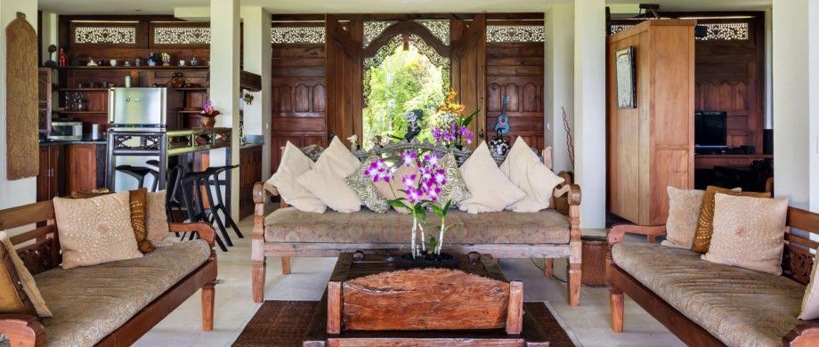 Fresh flowers in the living room at Villa Joglo at Citakara Sari Estate
