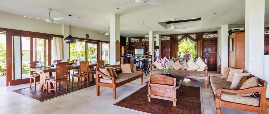 Living room accommodations at Villa Joglo at Citakara Sari Estate
