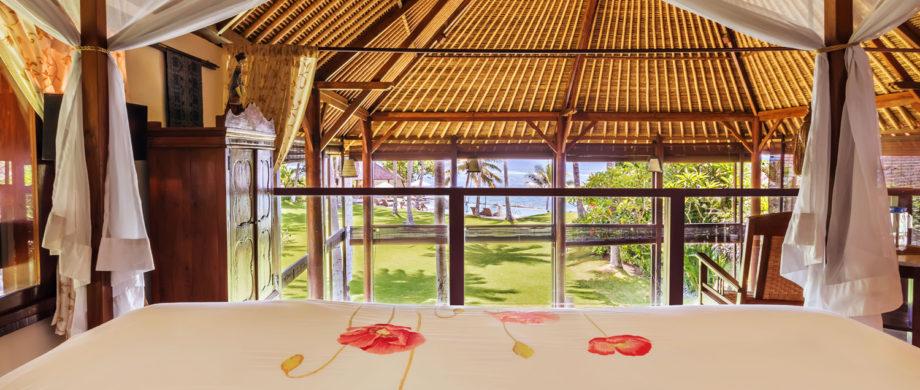 Ocean view from your bed at Villa Yoga Bale at Citakara Sari Estate